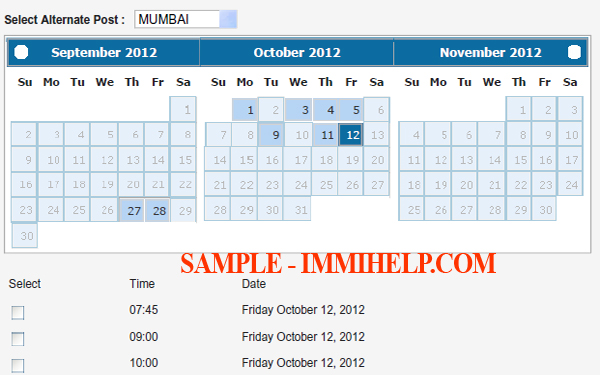 Sample available dates
