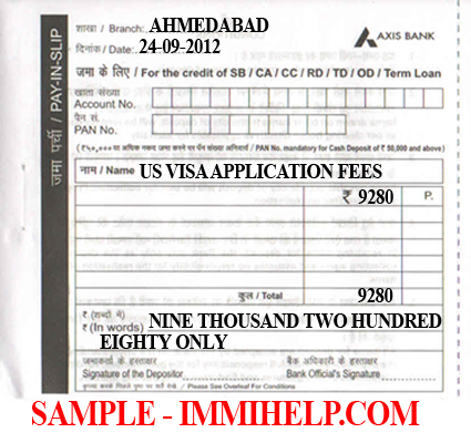 Sample Axis Bank Deposit Slip - U S  Visa Fee in India