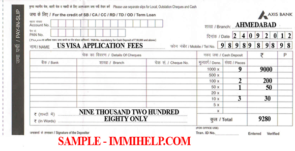 bank deposit form sample  Sample Axis Bank Deposit Slip - U.S. Visa Fee in India