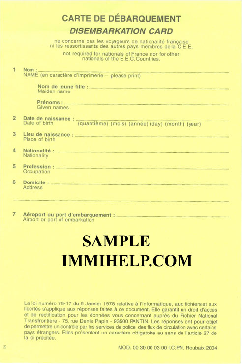 Sample France Disembarkation Card