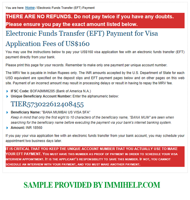 Sample NEFT Payment Instructions for USA Visa Fees in India