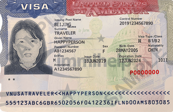 Sample U S A  Non-Immigrant Visa