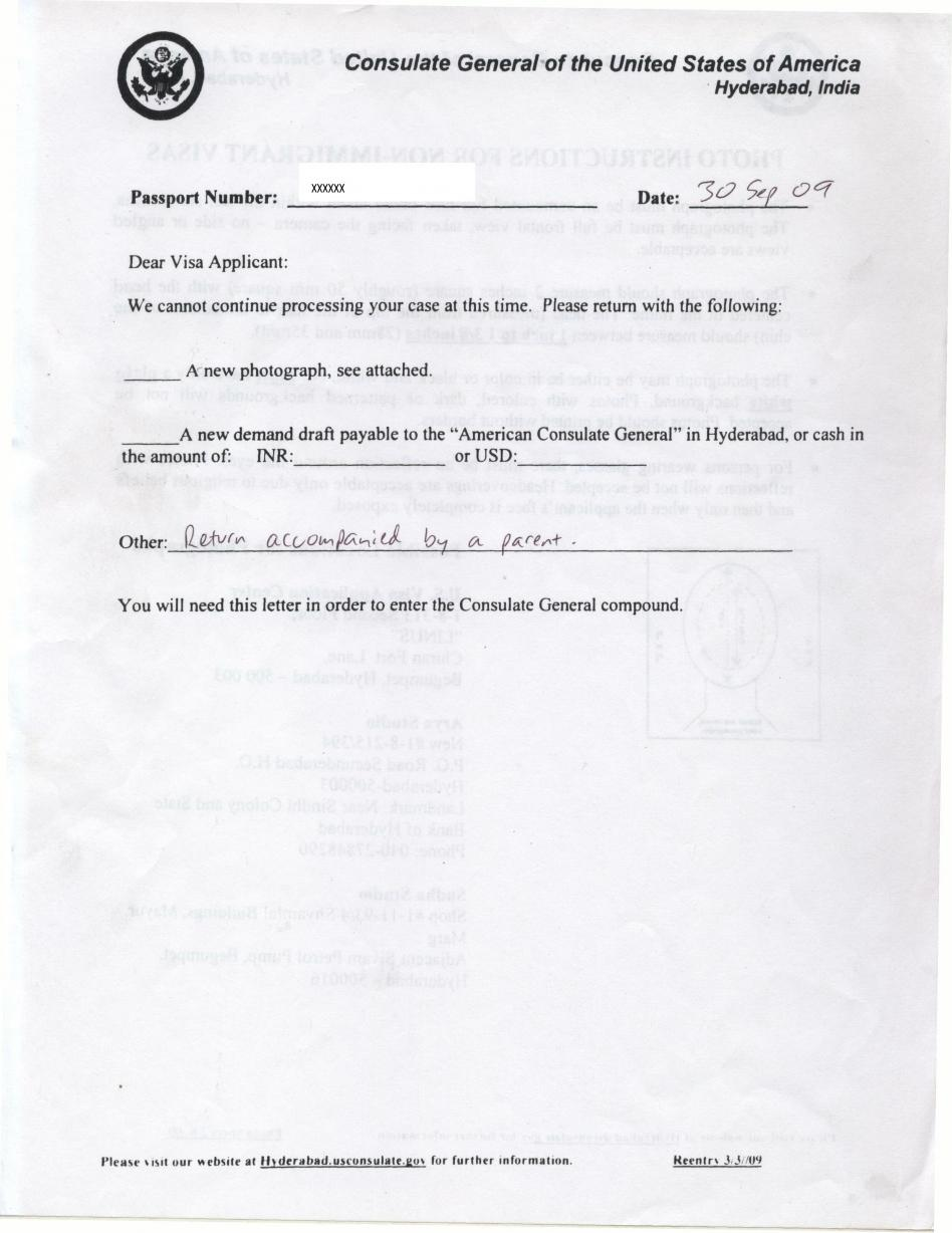 non objection letter h4 visa issue for my kid letter of