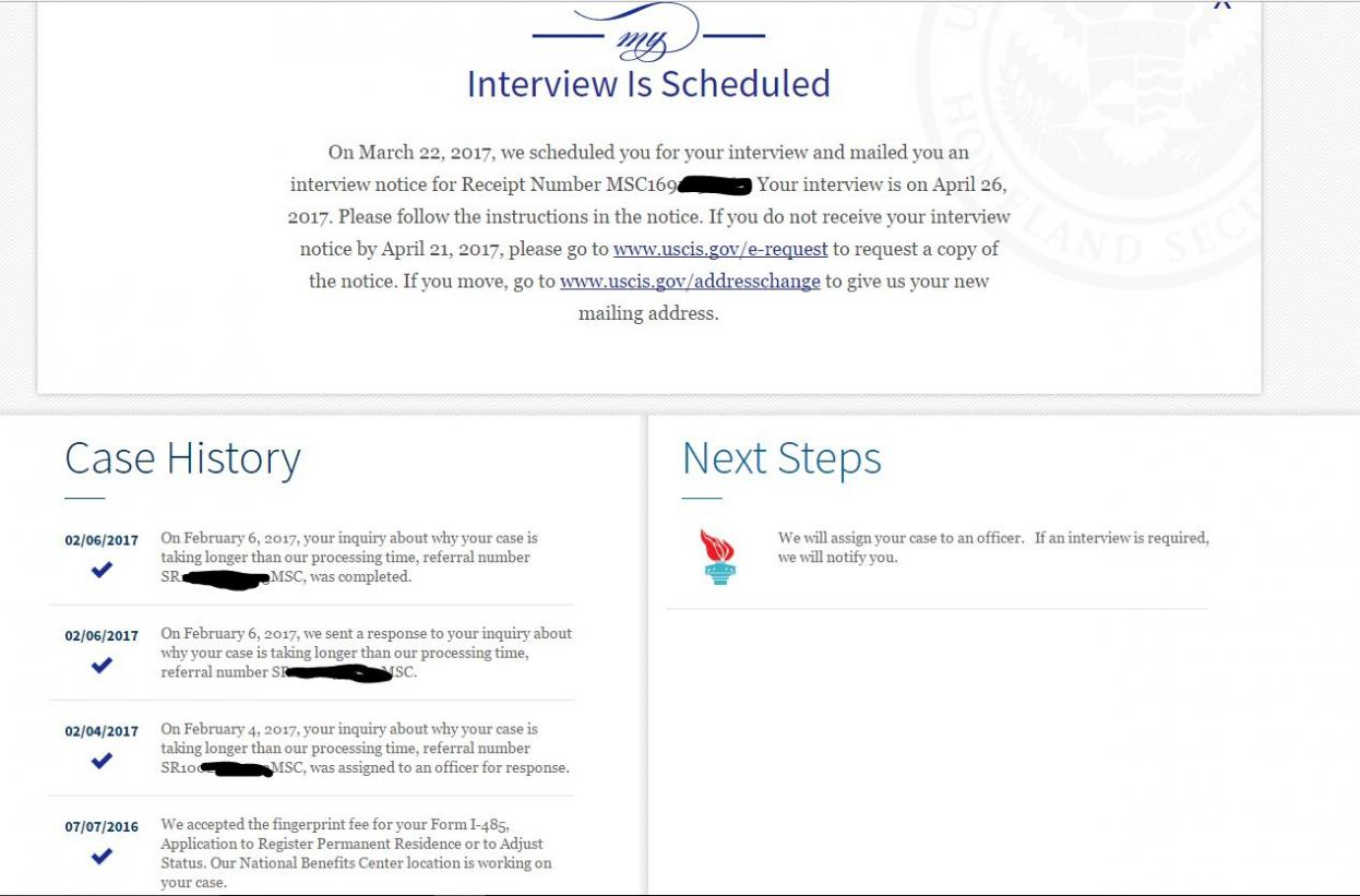 form i 485 interview was scheduled  Orlando filers pls share your experience - Immigration ...