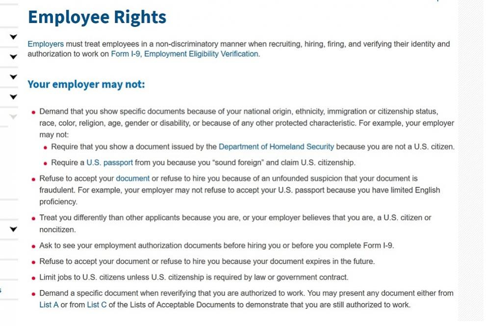 It is ILLEGAL for employers to ask you for your EAD before