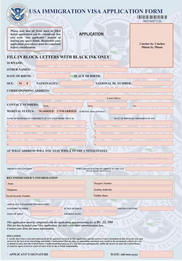 attachment Visa Application Form Desh New Delhi on