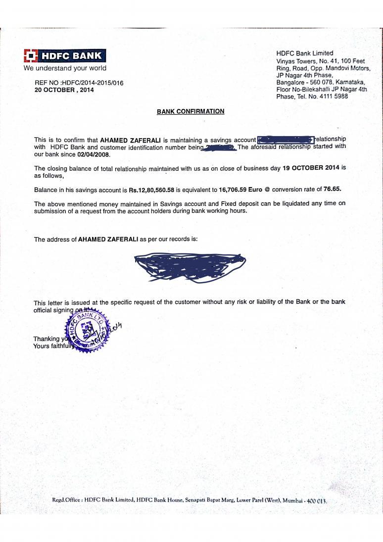 Bank Statement Letter For Visa