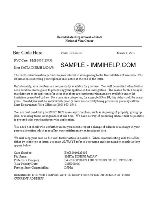 sample immigration letter