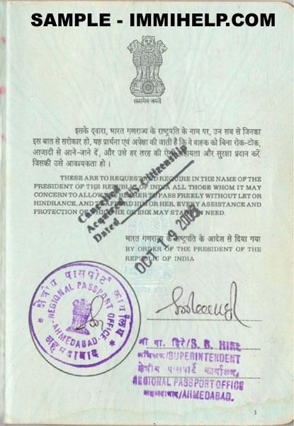 passport indian cancelled sample foreign citizenship immihelp