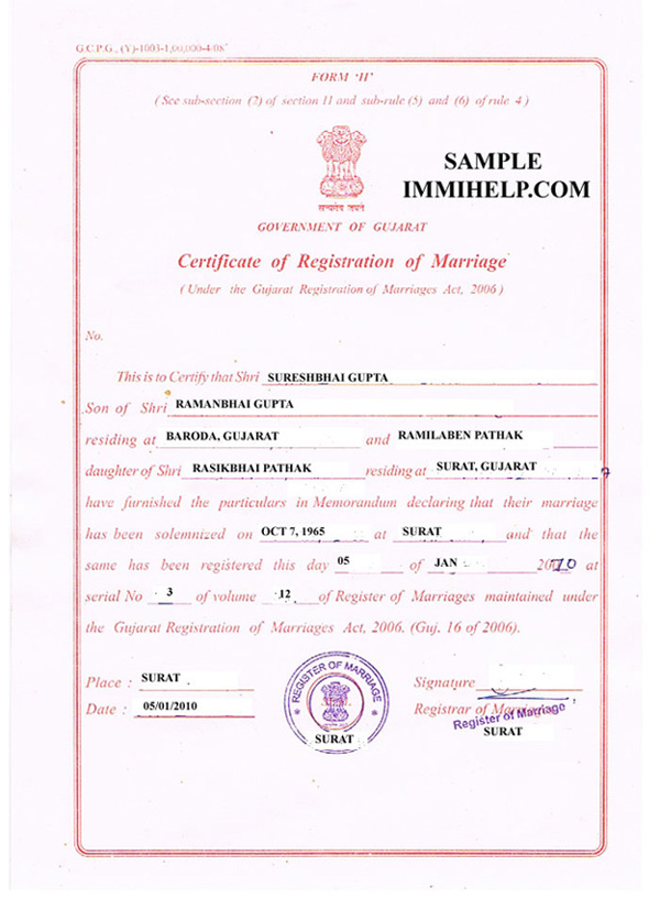 Sample marriage registration certificate from india in english yadclub Image collections