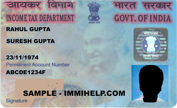 Filled sample form of pan application india pan card status online.